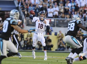 Denver Broncos quarterback Peyton Manning (18) during first quarter action against the Carolina Panthers in Super Bowl 50 at Levi's Stadium in Santa Clara, CA, February 7, 2016. Photo by Ben Hays.