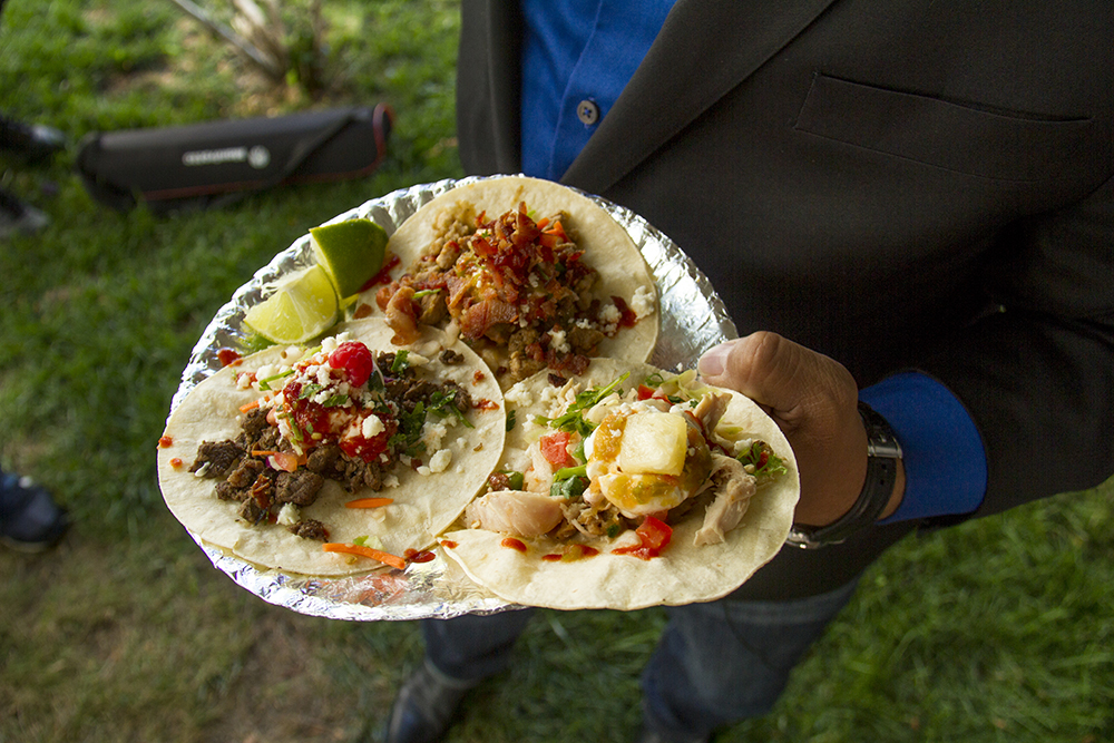 Denver City Councilman Paul Lopez's tacos from a taco truck parked in protest in front of the Denver Trump campaign headquarters on Sept. 2, 2016. (Kevin J. Beaty/Denverite)  food; tacos; politics; donald trump; hillary clinton; hispanic; protest; election; vote; kevinjbeaty; denverite; denver; colorado;