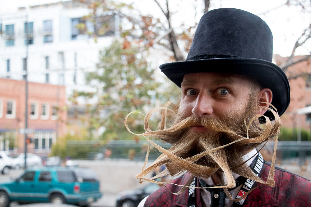 Matthew McGregor, president of the Boise Beardsmen, competed in the Great American Beard and Moustache Championship at Summit Music Hall Saturday. (Chloe Aiello/Denverite)