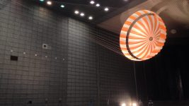 A parachute for the Mars InSight mission is tested in a tunnel. (Charly W. Karl/Flickr)
