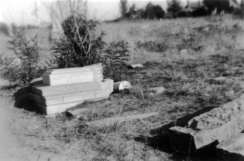 Old grave markers and vaults in the abandoned City Cemetery, sometime around 1950-60. (Denver Public Library/Western History Collection/X-18966)