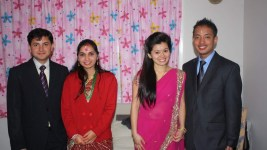 Bidur and Punya, at right, celebrate their engagement. Om and Doma are at left. (Courtesy Bidur Dahal)