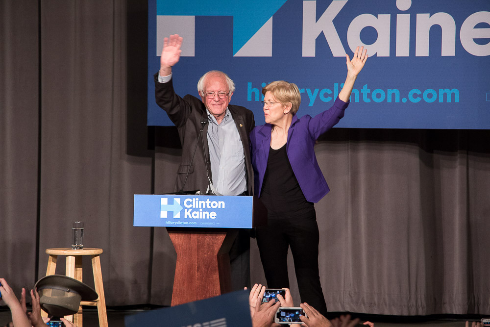 Senators Bernie Sanders and Elizabeth Warren appeared at Auraria for a Hillary Clinton rally. (Chloe Aiello/Denverite)