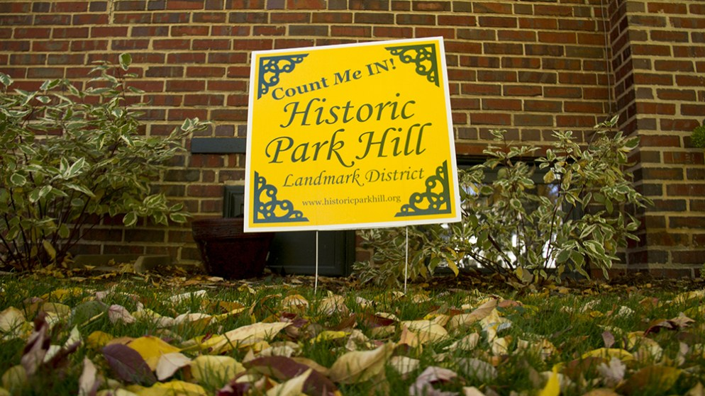 A sign supporting the historic designation of Park Hill. (Kevin J. Beaty/Denverite)