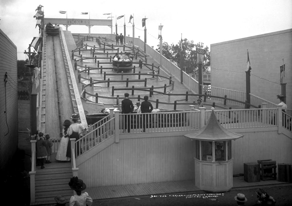 """View of a ride called the Tickler, """"White City"""" (later called Lakeside Amusement Park), Lakeside, Colorado, near Denver. Between 1908 and 1910. (Louis Charles McClure/Denver Public Library/Western History Collection/MCC-941)  historic; denver public library; dpl; archive; archival; denverite"""