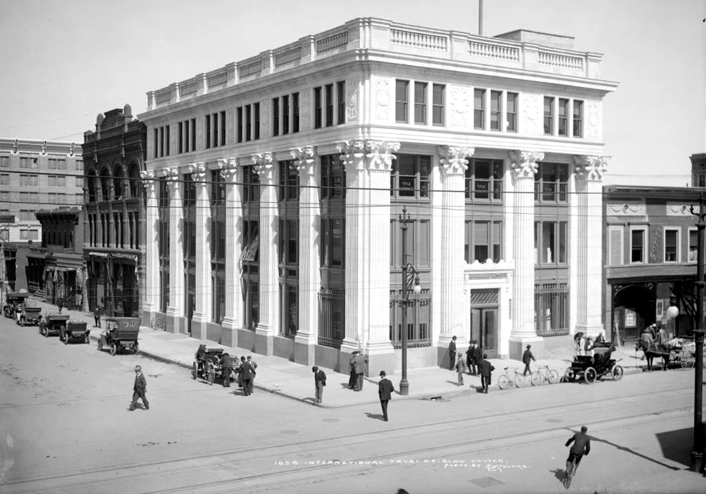 Exterior view of International Trust Company building (17th & corner of California). Between 1912 and 1920. (Louis Charles McClure/Denver Public Library/Western History Collection/MCC-1654)historic; denver public library; dpl; archive; archival; denverite