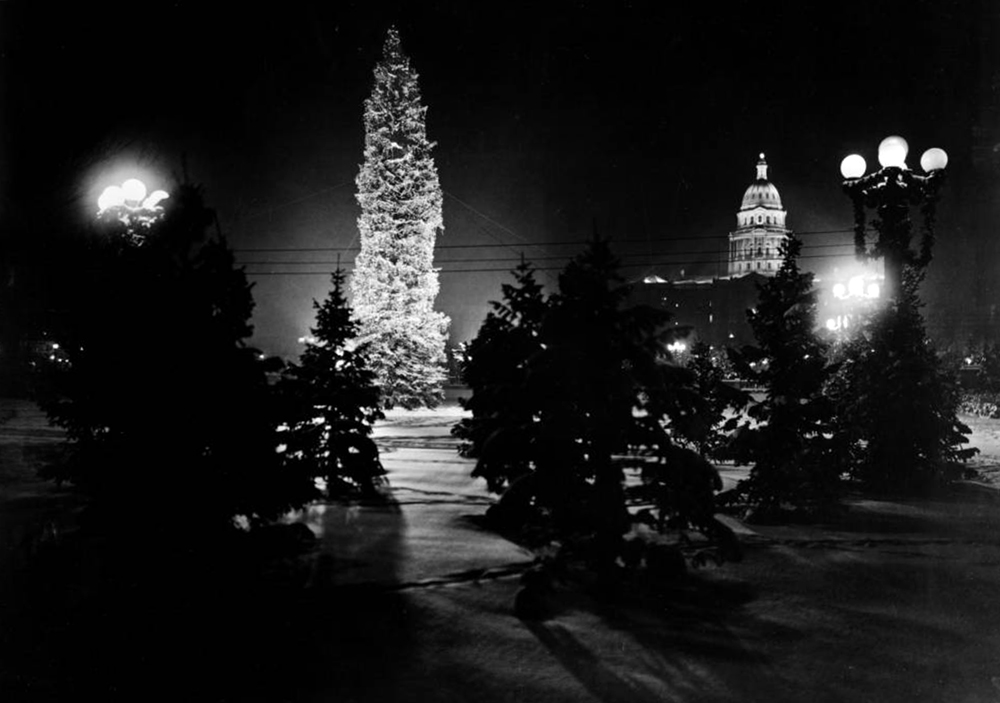 Night view of snow-covered Christmas display in Civic Center. Between 1920 and 1931. (Louis Charles McClure/Denver Public Library/Western History Collection/MCC-3356)  historic; denver public library; dpl; archive; archival; denverite