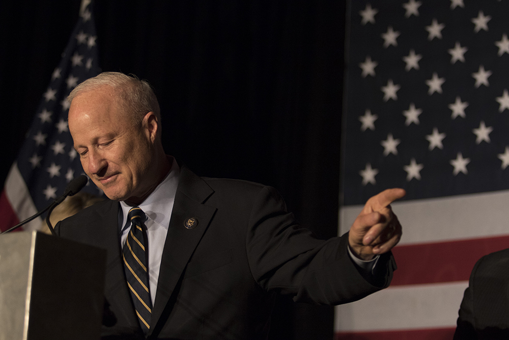 U.S. Rep. Mike Coffman addresses the crowd as the victor at the 2016 GOP watch party at the Double Tree Hotel in Greenwood Village on Nov. 8, 2016.  (Jessica Taves/For Denverite)  election; republican; campaign; vote; voting; politics; colorado; copolitics; kevinjbeaty; denverite; denver; colorado;