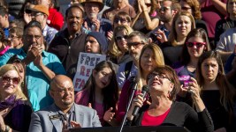 Nita Gonzales, principal of Escuela Tlatelolco, speaks at a rally against Donald Trump in reaction to his election just days prior. Nov. 10, 2016. (Kevin J. Beaty/Denverite)  rally; protest; trump; politics; copolitics; capitol; denver; denverite; colorado; kevinjbeaty; election;