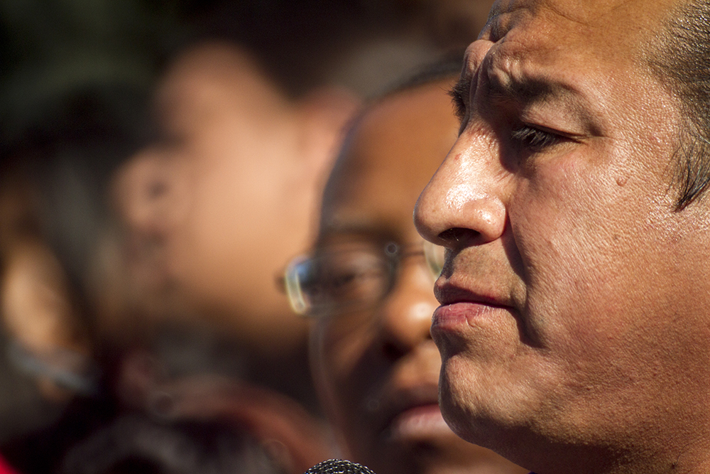 Indigenous rights activist Reuben Crow Feather at a rally against Donald Trump in reaction to his election just days prior. Nov. 10, 2016. (Kevin J. Beaty/Denverite)  rally; protest; trump; politics; copolitics; capitol; denver; denverite; colorado; kevinjbeaty; election;