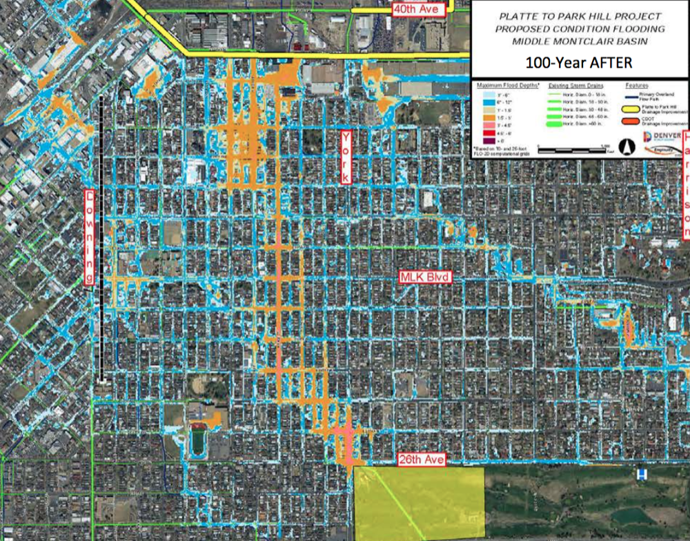 Projected flooding after the Platte to Park Hill system's construction (City of Denver)