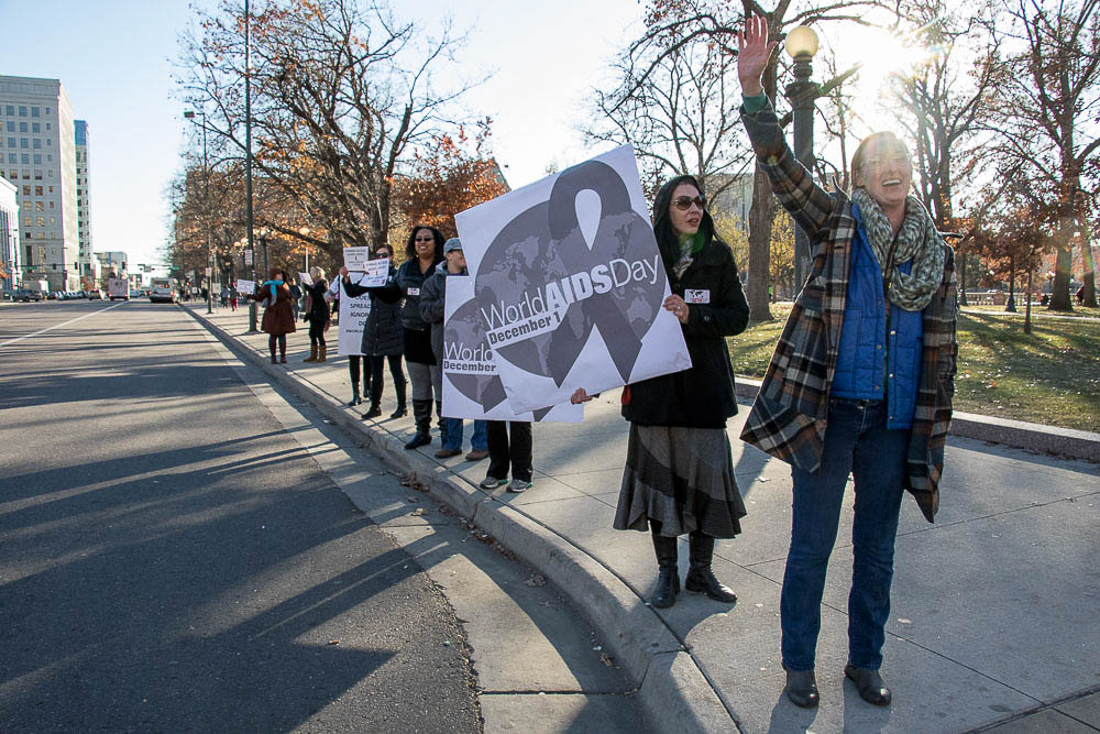 The Harm Reduction Action Center organized to create awareness for World AIDS Day. (Chloe Aiello/Denverite)