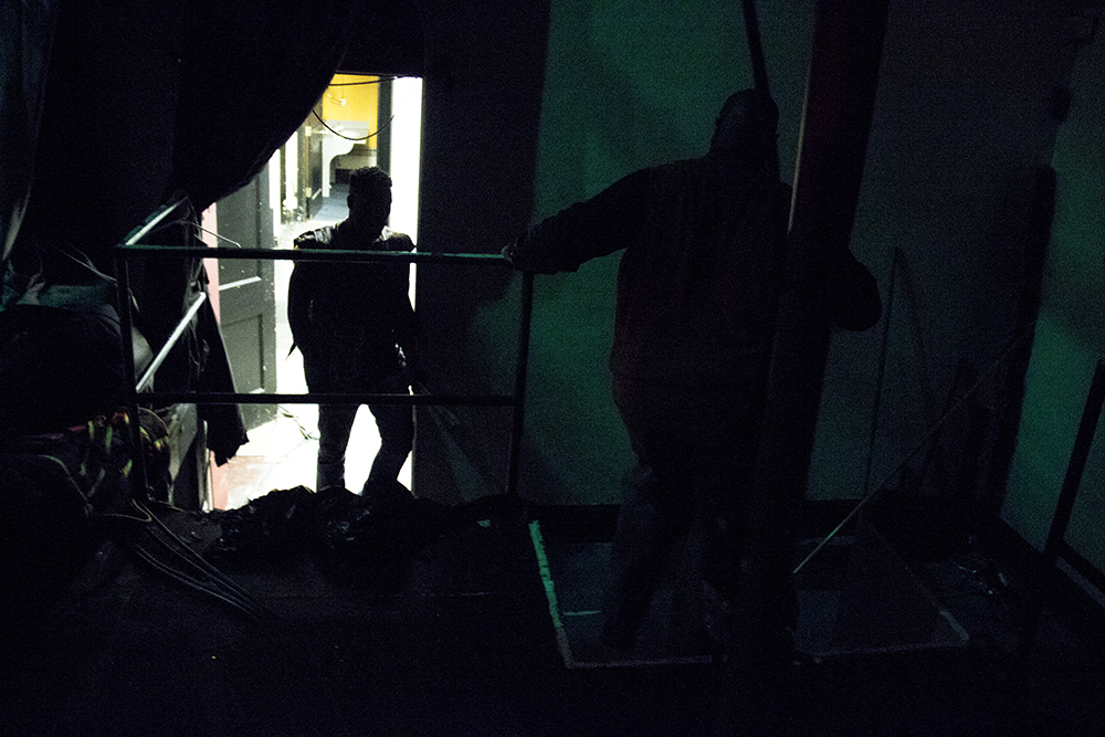 A silhouette backstage. The first night of Kwanzaa at the Cleo Parker Robinson Dance Theatre, Dec. 26, 2016. (Kevin J. Beaty/Denverite)kwanzaa; Cleo Parker Robinson Dance Theatre; holidays; denver; denverite; kevinjbeaty; colorado; five points;