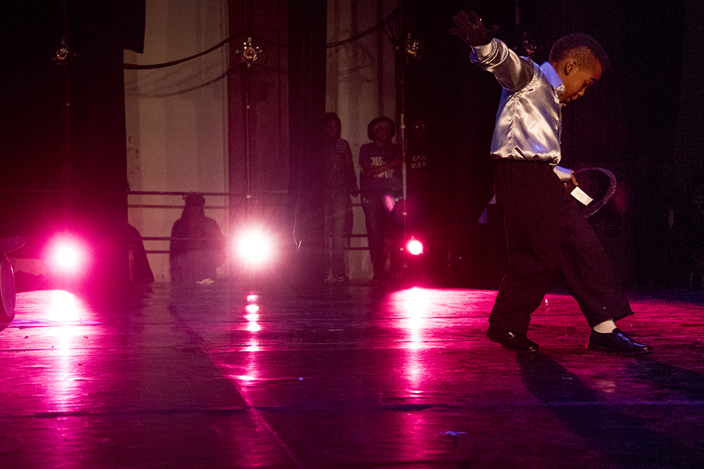 """Jamari Robonson Hampton performs a convincing MJ to """"Billie Jean."""" The first night of Kwanzaa at the Cleo Parker Robinson Dance Theatre, Dec. 26, 2016. (Kevin J. Beaty/Denverite)  kwanzaa; Cleo Parker Robinson Dance Theatre; holidays; denver; denverite; kevinjbeaty; colorado; five points;"""