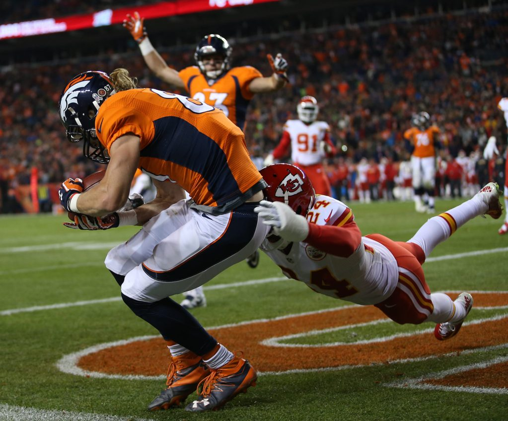 Denver Broncos wide receiver Jordan Taylor (87) catches a touchdown pass during third quarter action against the Kansas City Chiefs during the game at Sports Authority Field at Mile High in Denver, CO, November 27, 2016. Photo by Gabriel Christus