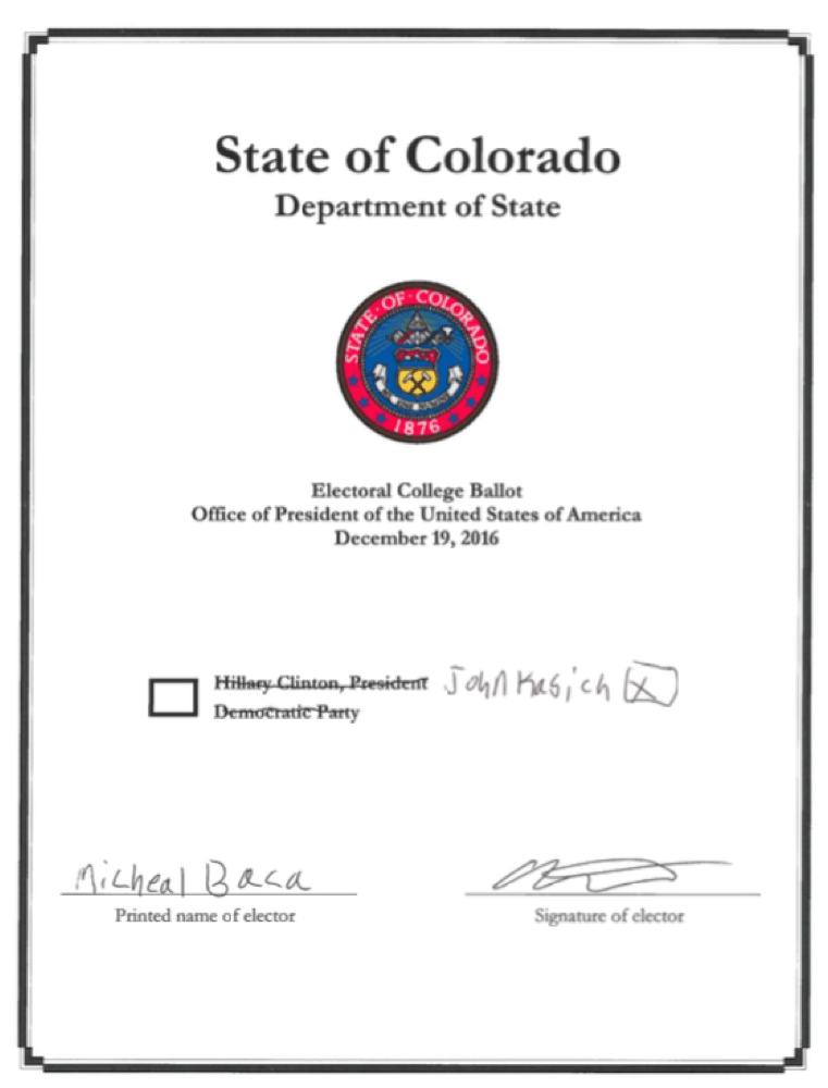 "Elector Micheal Baca's ""faithless"" vote for president. (Courtesy Colorado Secretary of State's Office)"