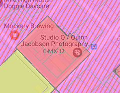 Screen shot of the Denver zoning map showing the 3500 block of Brighton Boulevard.