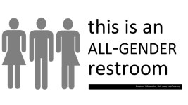 Gender neutral bathroom sign. (Samir Luther, Flickr)