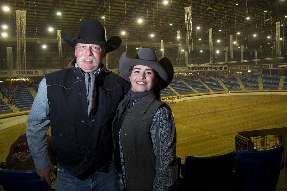 Geoff and Erin Johnson stand above the Event Center at the National Western Complex. National Western Stock Show. Jan. 8, 2016. (Kevin J. Beaty/Denverite)  national western stock show; nwss; national western center; cowboy; kevinjbeaty; denver; denverite; colorado;