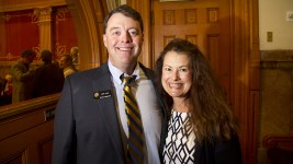 District 27 Representative Jack Tate and his wife Kathleen. The first day of the Colorado state legislative session. Jan 11, 2017. (Kevin J. Beaty/Denverite)  legislature; copolitics; politics; legislative session; capitol; kevinjbeaty; denver; denverite; colorado;