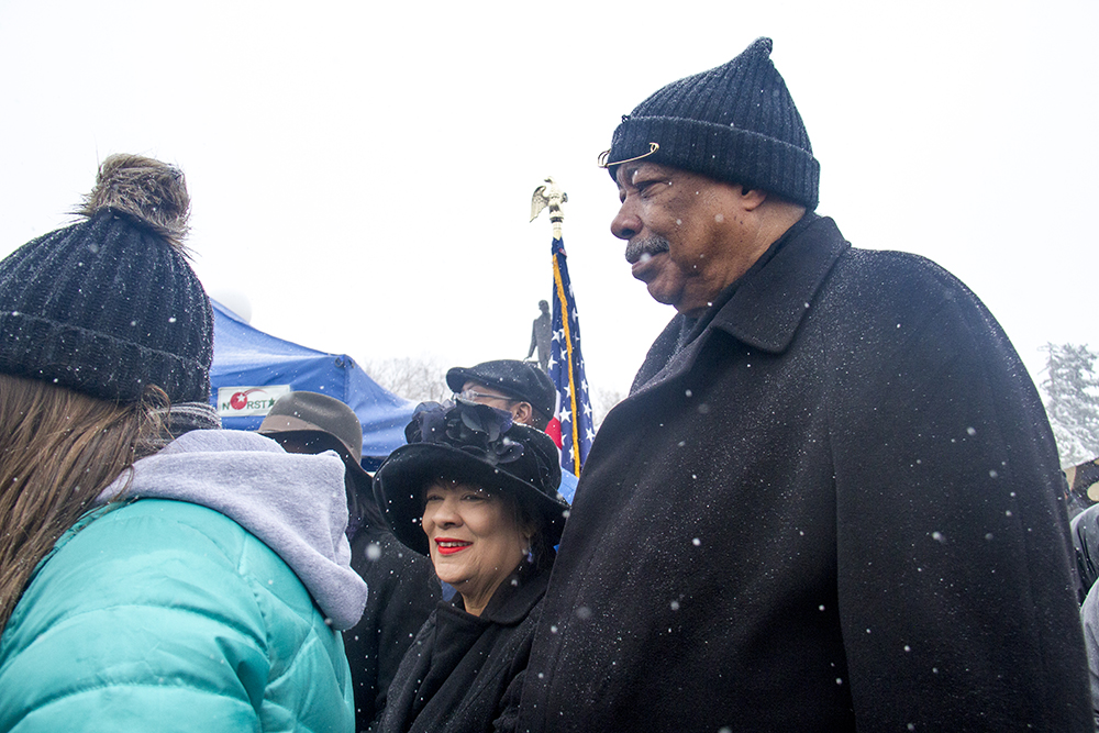Former Denver Mayor Wellington Webb. The Martin Luther King Jr. Marade, Jan. 16, 2017. (Kevin J. Beaty/Denverite)  mlk; marade; martin luther king jr; city park; denver; colorado; kevinjbeaty; weather; cowx;