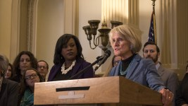 """Colorado leaders gather to speak out against HB 1031, the hotly contested """"religious freedom"""" bill. (Chloe Aiello/Denverite)"""