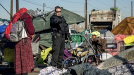 """Sweeps"" of homeless encampments at Denargo and Delgany Streets, Jan. 26, 2016. (Kevin J. Beaty/Denverite)  homelessness; sweeps; right to rest; denver; colorado; kevinjbeaty; denverite;"