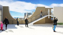 Proposed architectural rendering of terrace on level 7 of the North Building. Courtesy of Fentress Architects and Machado Silvetti. (Courtesy of the Denver Art Museum)
