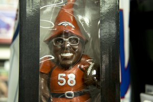 Von Miller as a gnome. Bill's Sports Collectibles. (Kevin J. Beaty/Denverite)  Broncos; bill's sports collectibles; retail; kevinjbeaty; denver; denverite; colorado;