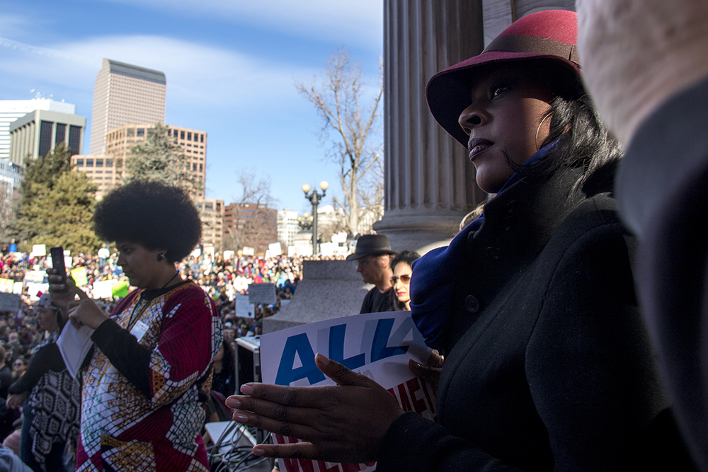 District 8 Representative Leslie Herod at the Protect Our Muslim Neighbors Rally at Civic Center Park, Feb. 4, 2017. (Kevin J. Beaty/Denverite)  march; protest; muslim neighbors; civic center park; copolitics; kevinjbeaty; denver; denverite;
