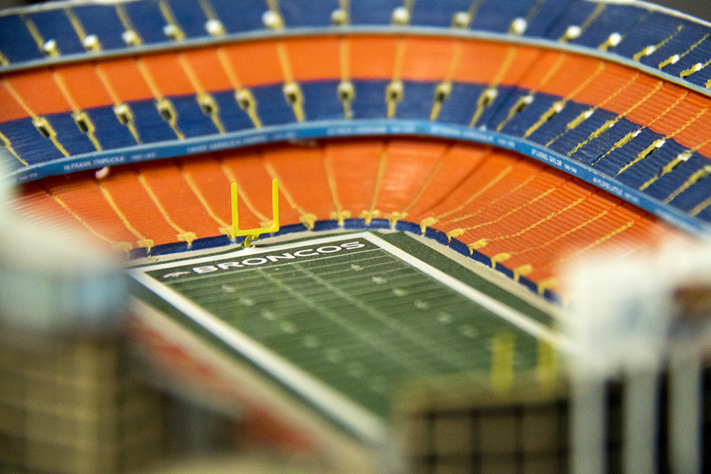 A toy of the old Mile High Stadium at Bill's Sports Collectibles. (Kevin J. Beaty/Denverite)  Broncos; bill's sports collectibles; retail; kevinjbeaty; denver; denverite; colorado;