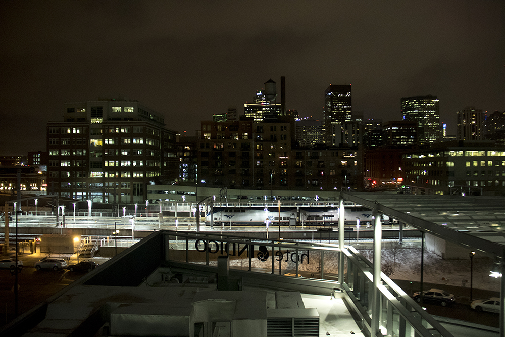 Union Station seen from Hotel Indigo, Feb. 23, 2017. (Kevin J. Beaty/Denverite)  denver; denverite; hotel indigo; union station; rtd; train;