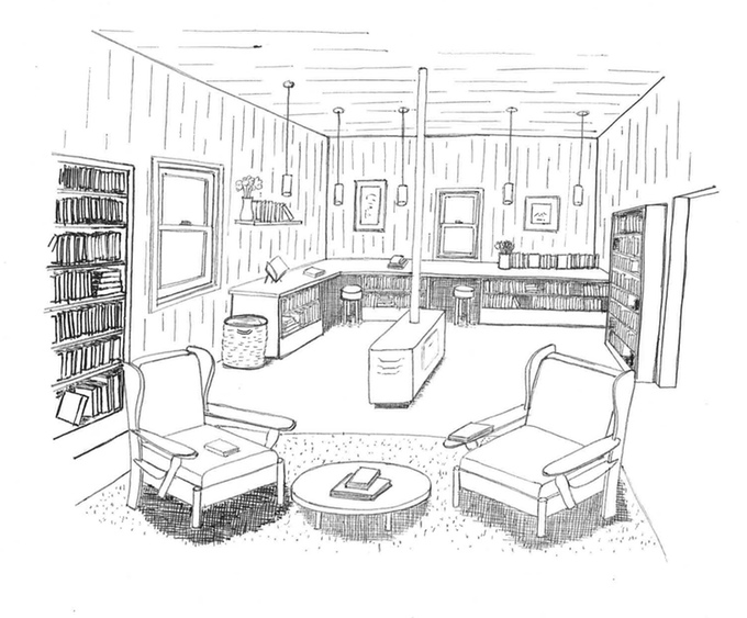 Cook's House Library. Sketch, site plan and floor plans by Dan Mitchell