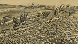 North Denver pollution in 1889. 38th and Blake is at center-right. (Library of Congress)