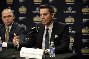 Josh Kroenke shared some good stories on Richard Jefferson's podcast that was released Wednesday. (Ron Chenoy/USA Today Sports)