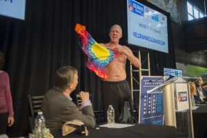 Bill Walton changes into a Velorama T-shirt at the Velorama Colorado announcement March 1, 2017. (Photo: Evan Semón Photography)