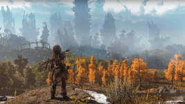 A character in Horizon: Zero Dawn looks over the ruins of a city clearly modeled after Denver, with Mile High in the foreground. (Sony Computer Entertainment)