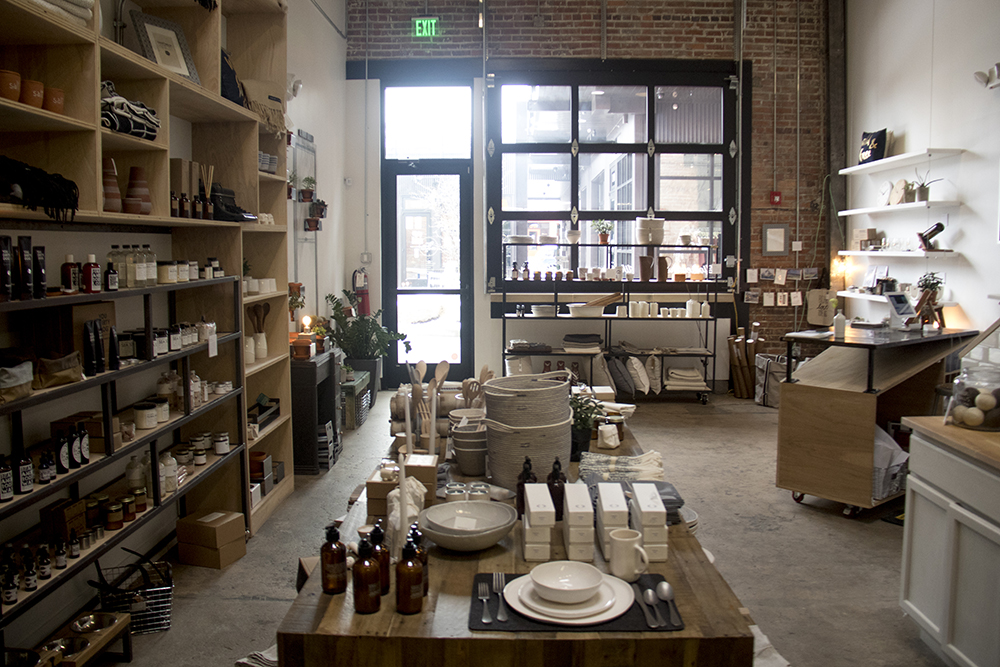 Wares on shelves inside the River North Workshop Company at Backyard on Blake, RiNo. (Kevin J. Beaty/Denverite)  denver; colorado; denverite; kevinjbeaty; backyard on blake; rino; five points; development; commercial real estate;