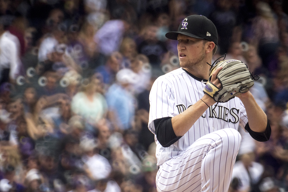 Kyle Freeland on the mound. Coors Field opening day, April 7, 2017. (Kevin J. Beaty/Denverite)  rockies; ballpark; coors field; sports; baseball; opening day; denver; colorado; denverite; kevinjbeaty;