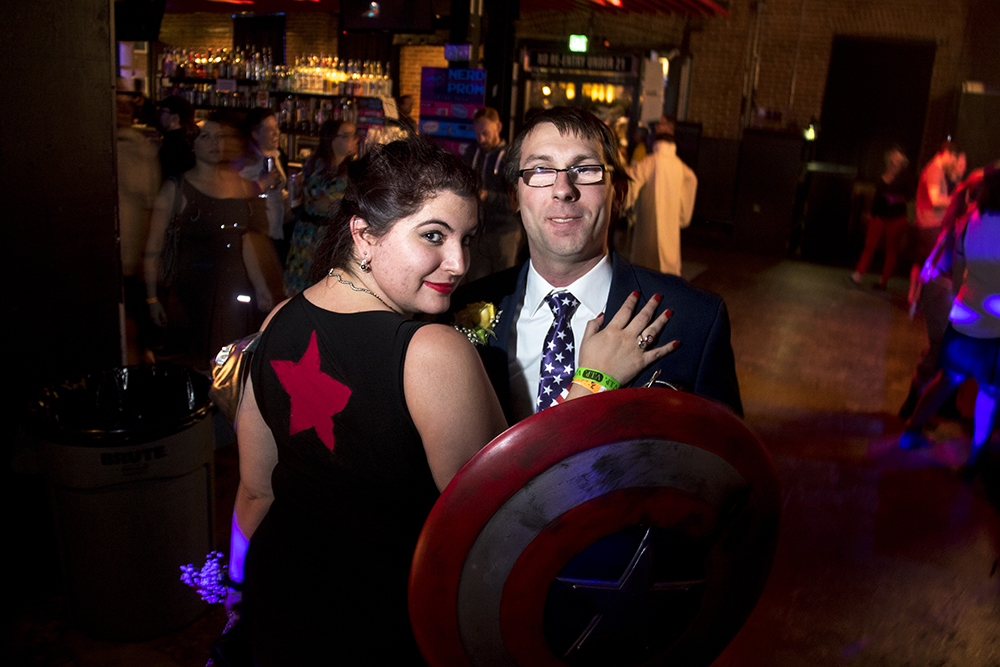 Brittany and Derek Hendricks as the Winter Soldier and Captain America. Nerd Prom at Summit Music Hall, April 8, 2017. (Kevin J. Beaty/Denverite)  nerd prom; cosplay; geek; party; video games; kevinjbeaty; denver; denverite; colorado;