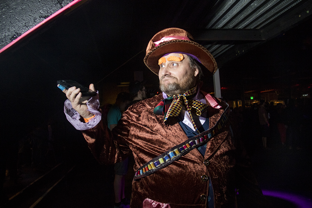 Roy Overturf dressed as the Mad Hatter. Nerd Prom at Summit Music Hall, April 8, 2017. (Kevin J. Beaty/Denverite)  nerd prom; cosplay; geek; party; video games; kevinjbeaty; denver; denverite; colorado;