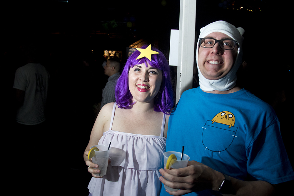 Julie Cahill as the Lumpy Space Princess and Andy Darnell as Finn. Nerd Prom at Summit Music Hall, April 8, 2017. (Kevin J. Beaty/Denverite)nerd prom; cosplay; geek; party; video games; kevinjbeaty; denver; denverite; colorado;