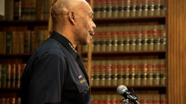 Denver Police Department Chief Robert White. A press conference detailing a settlement agreement between Denver and the family of Jessica Hernandez, April 12, 2017. (Kevin J. Beaty/Denverite)  jessica hernandez; denver police; chief robert white; city and county building; kevinjbeaty; denver; denverite; kevinjbeaty;