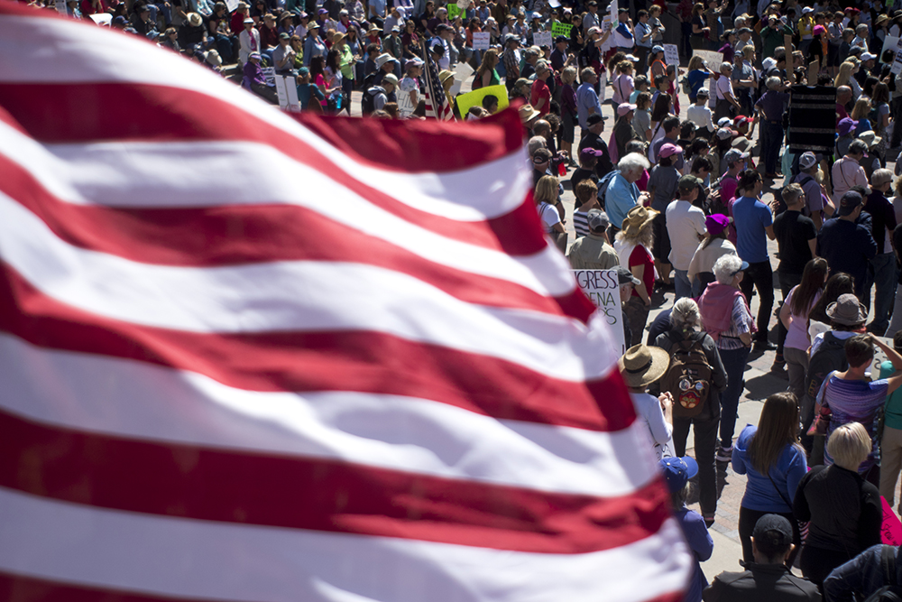 The tax day tax march calling for President Trump to release his returns, April 15, 2017. (Kevin J. Beaty/Denverite)  tax day; tax march; protest; copolitics; kevinjbeaty; denver; denverite; colorado; civic center park;