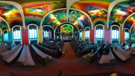 The International Church of Cannabis' colorful painted ceiling. S. Logan Street, April 4, 2017. (Kevin J. Beaty/Denverite)  420; marijuana; international church of cannabis; washington park west; kevinjbeaty; denver; denverite; colorado;