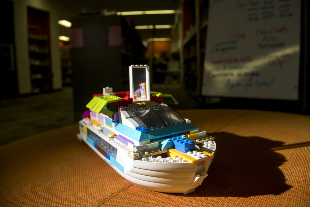 """The Titanic,"" on display at the Rodolfo ""Corky"" Gonzales branch. Denver Public Library LEGO contest. (Kevin J. Beaty/Denverite)