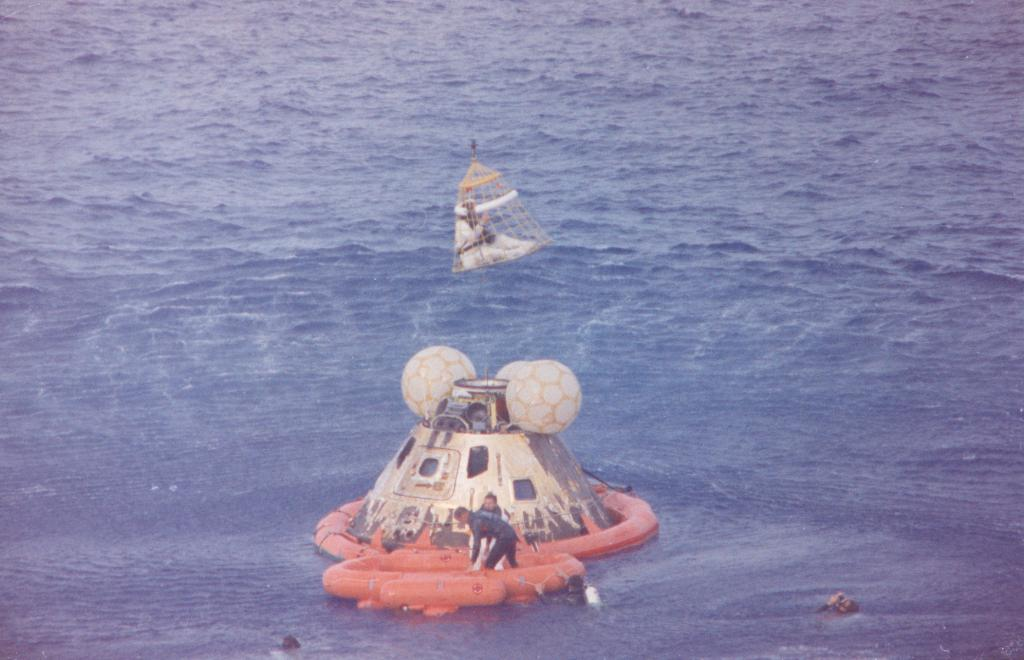 The Apollo 13 crew awaiting recovery in the Pacific Ocean on April 17, 1970. (NASA)