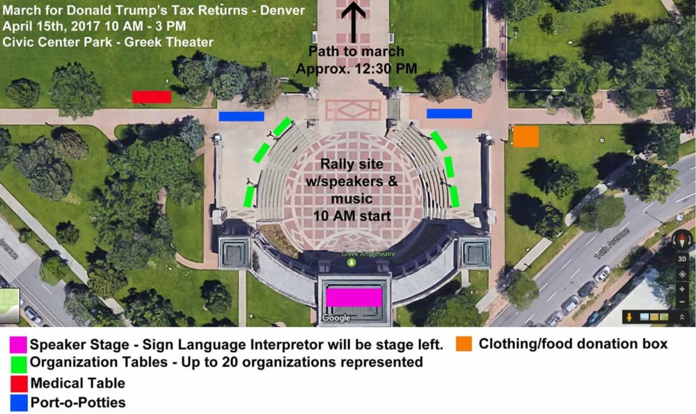 A diagram of the Tax Day march in Denver. (Courtesy Samantha Montgomery)