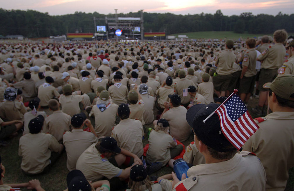 Boy Scouts in Fort A.P. Hill, Virginia, at the National Boy Scouts Jamboree of 2005. (U.S. Navy)