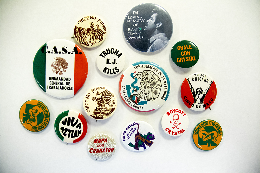"Chicano movement buttons. (Denver Public Library/Western History Collection/Rodolfo ""Corky"" Gonzales Papers)  denver public library; dpl; cinco de mayo; chicano; denverite; denver; colorado; archive;"